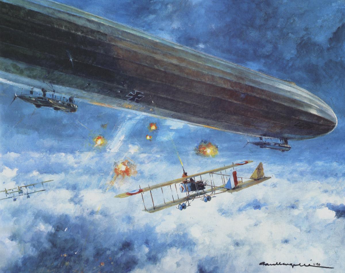 l'attaque du Zeppelin par Louis Vallin, la nuit du 29 au 30 janvier 1916. Tel David contre Goliath, le bombardier mitrailleur Vallin s'attaque au dirigeable armé de sa seule carabine.