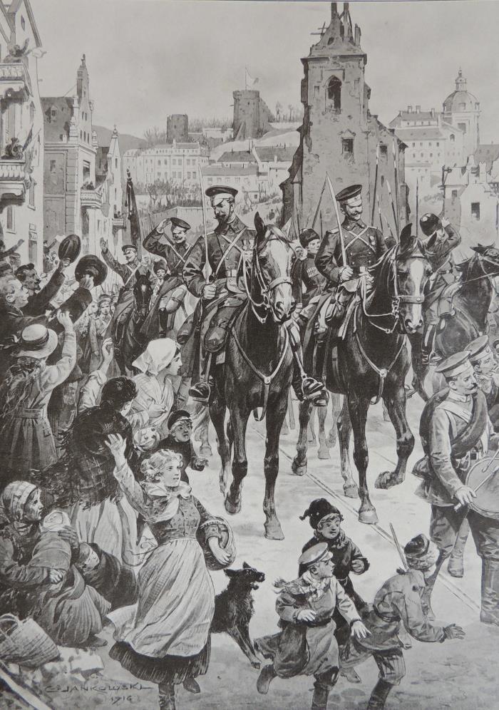Entrée russes a Loutsk dessin de Jankowski Monde illustré 1 juillet 1916