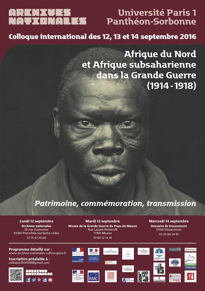 Colloque international : Afrique du Nord et Afrique subsaharienne dans la Grande Guerre